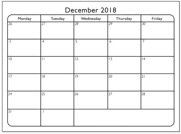 Blank December Calendar 2018 December 2018 Calendar Pinterest