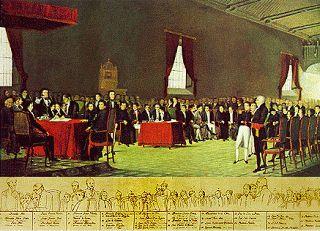 """""""El 5 de Julio de 1811"""", Juan Lovera (1838) - Firma de declaración de Independencia de Venezuela - Lienzo completo"""