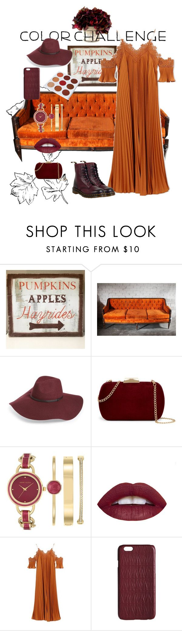 """Cose arancio"" by ramonapi ❤ liked on Polyvore featuring WALL, Halogen, Natasha Accessories, Anne Klein, self-portrait, Dagmar, Dr. Martens, colorchallenge and pumpkinandburgundy"