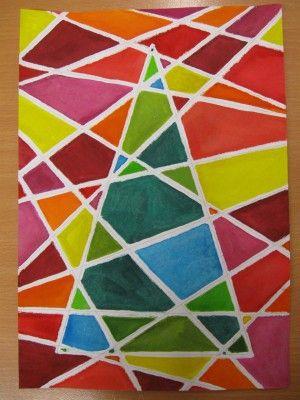 Vánoční strom - kresba pastelem a malba barvami