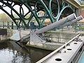 Gate, hydraulics, concrete pier and bridgework of the Tees Barrage.