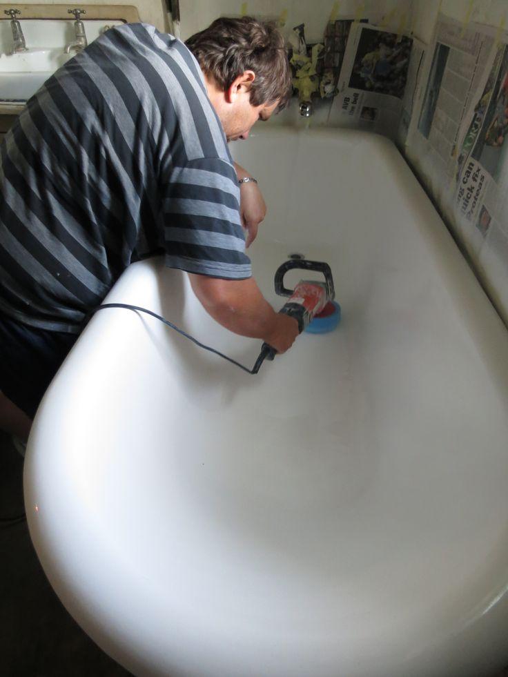 Stephen Lambrick - me - polishing a Victorian Bath.