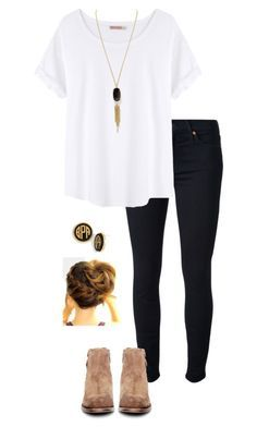""""""""""" by gabbbsss ❤ liked on Polyvore featuring 7 For All Mankind, Organic by John Patrick, H by Hudson, Kendra Scott and Moon and Lola"""