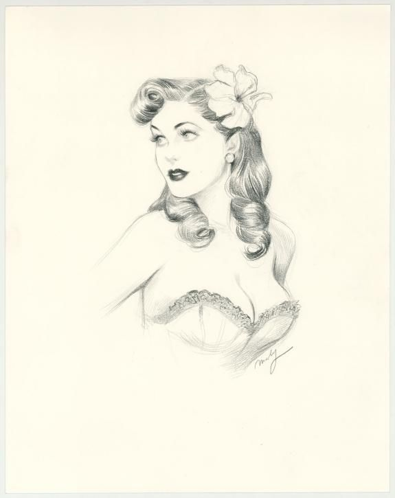 "Maly Siri - Pin-up Art Illustration originale intitulée ""Lovely Diana"""