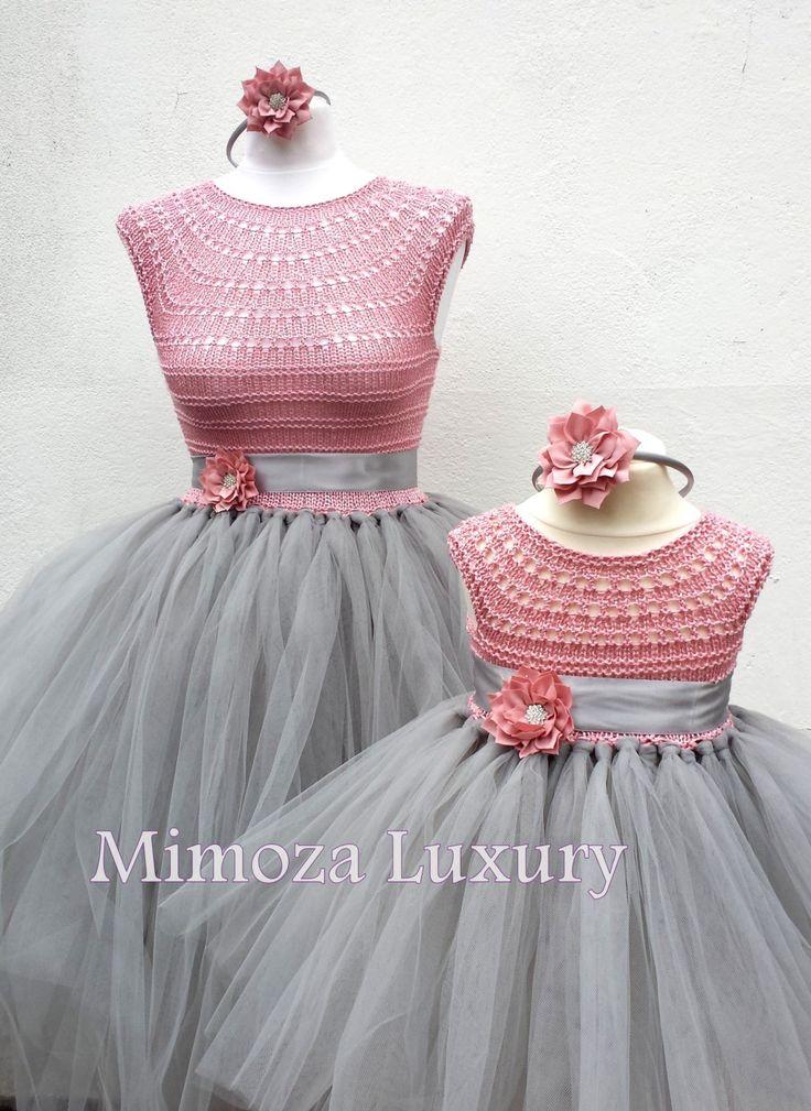 Madre hija juego vestidos de adulto vestido vestido de Dama