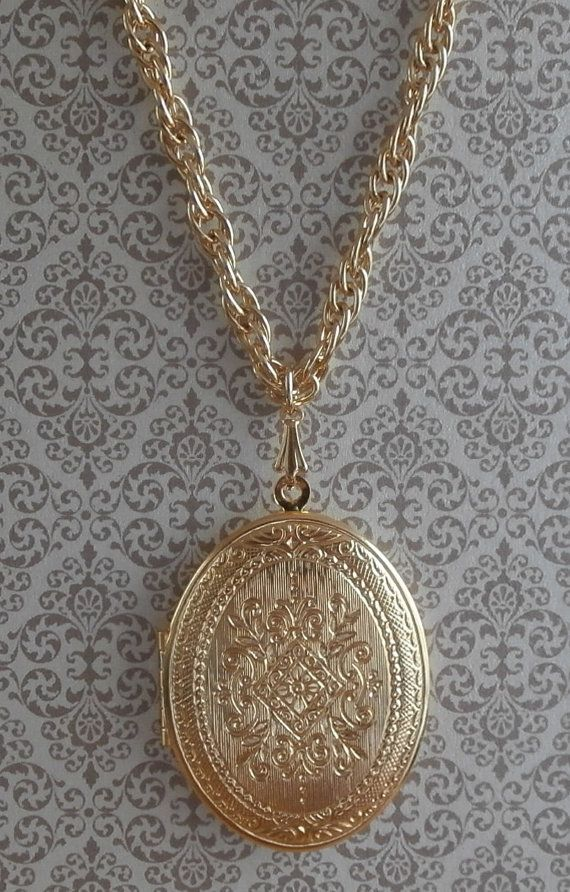 2535 best necklaces pendants images on pinterest bees bottle vintage ornate scrollwork locket pendant necklace double sided design 24 inch necklace large locket pendant mozeypictures Image collections