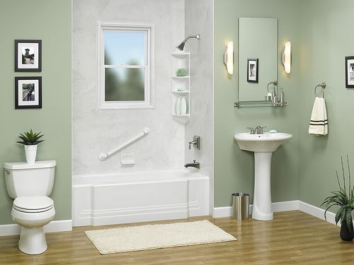 White Clic Tub With Smooth Silver Wall Surround And Obscure Gl Window Cutout By