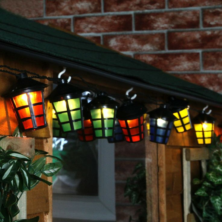 Add a bit of colour to your fence or hang around your shed! Multi Colour #Solar #Lantern #Party String Lights With Timer | World Of Solar