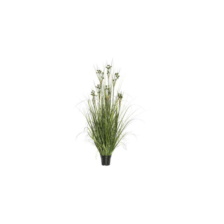Artificial Grass with Pomp Balls in Pot (36) Green - Vickerman
