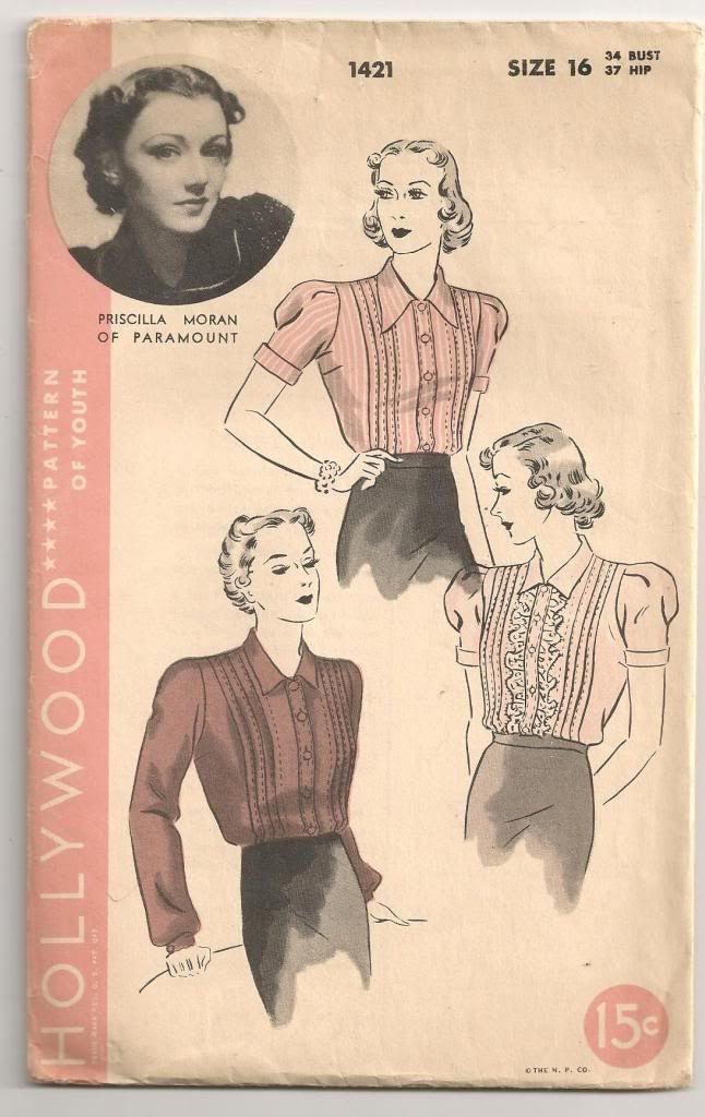 SALE - 1930s Hollywood Sewing Pattern - Pin Tuck Detail Puff Sleeve Blouse Shirt - 34 Bust by HepCatVintageUK on Etsy https://www.etsy.com/listing/159892882/sale-1930s-hollywood-sewing-pattern-pin