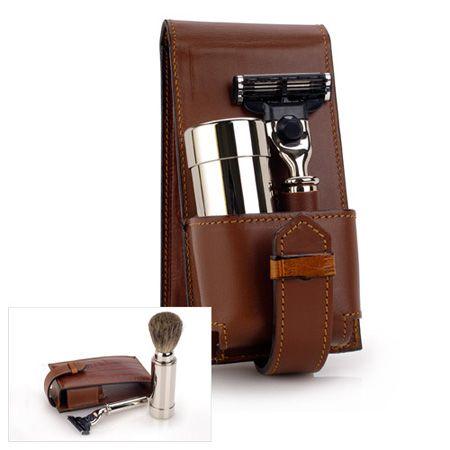 Edwin Jagger Italian Leather Travel Kit