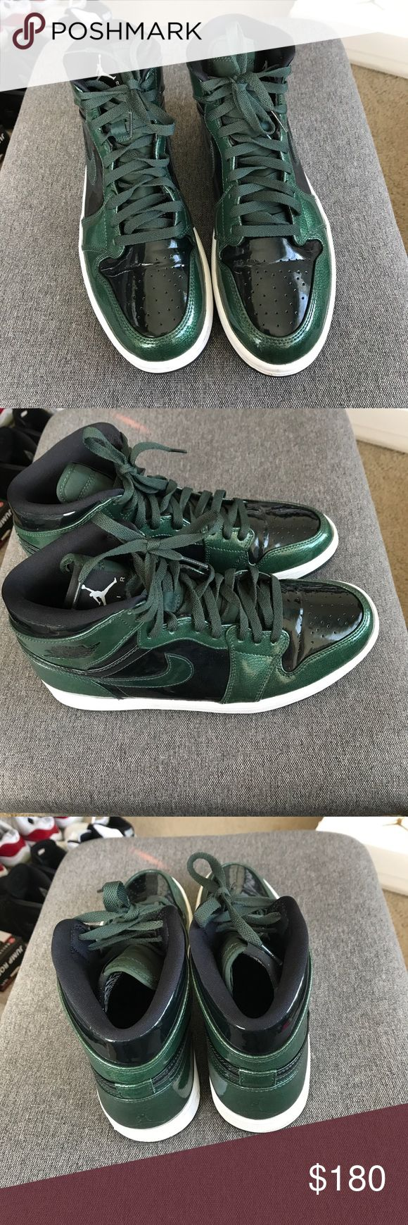 Air Jordan Retro 1 - Patent Leather green In good condition.  Like new, only worn once.  Color:  Patent Leather Green and Black style: 130690-113, year of release 2016.  Box not included. Air Jordan Shoes Athletic Shoes