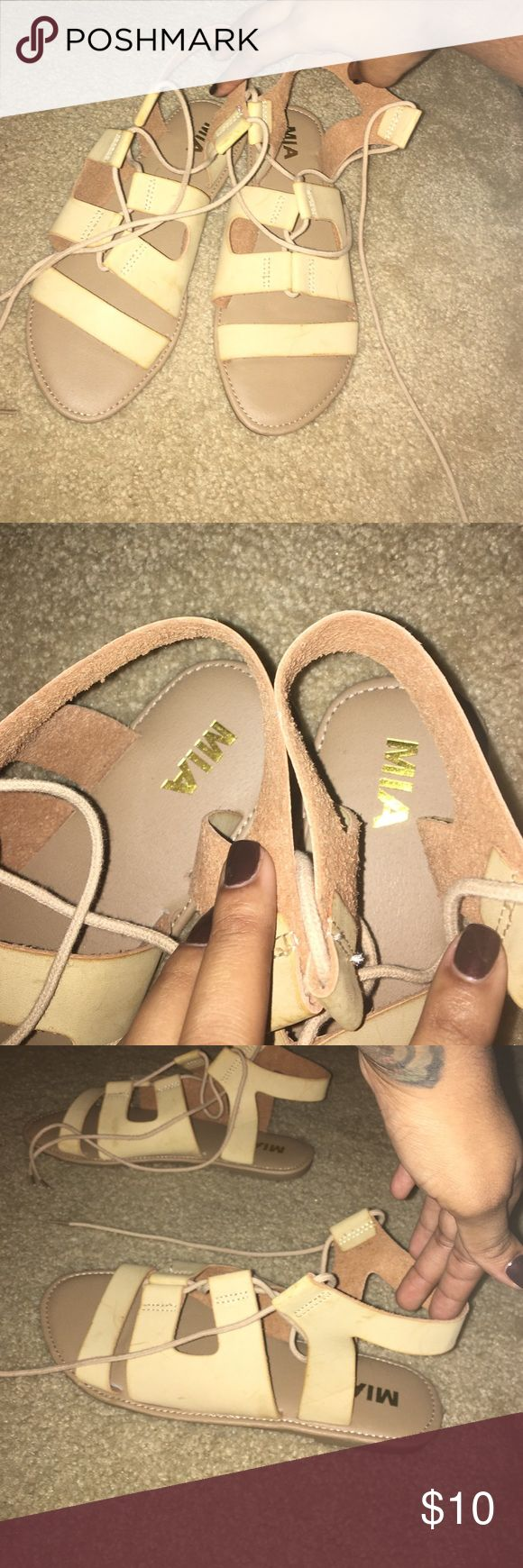 NEW Nude gladiator Jesus like sandals The perfect nude hippie sandal to pair with a summer dress or cut offs this summer/spring. never worn & purchased from DSW MIA Shoes Sandals