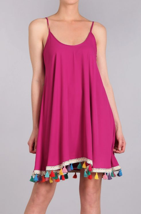 Judith March Swing Dress with Multicolor Tassel Fringe-Fuschia