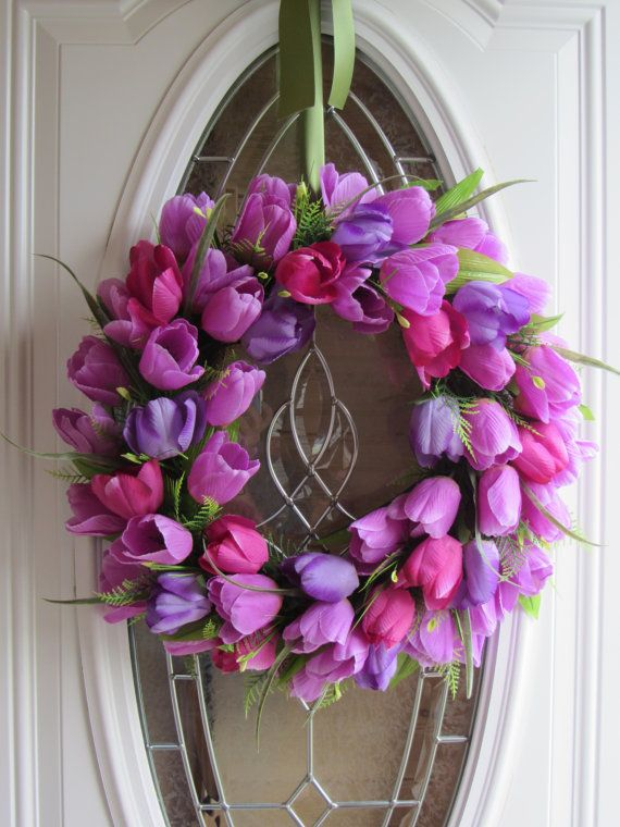 spring and summer  front door tulip wreath by floralexpresions, $49.95