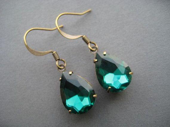Emerald τεχνητό διαμάντι σκουλαρίκια - σμαραγδένιο πράσινο Σκουλαρίκια - Emerald Κοσμήματα - Τεχνητό Κοσμήματα - Κοσμήματα Ρομαντικό - Μικρά ...