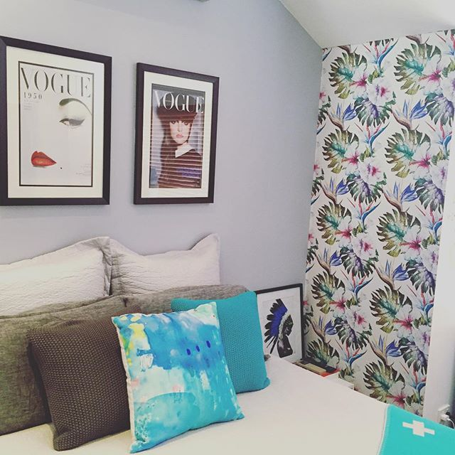 Even the small unused spaces look great with a touch of Pickawall.  This is the perfect Spring/Summer print to match this room.  #Pickawall #Wallpaper #DIYWallpaperAndMurals #WallMurals #RemovableWallpaper #SelfAdhesiveWallpaper #HomeDecor #InteriorDesign #Styling #WallDecor #DesignIdeas #InteriorStyling