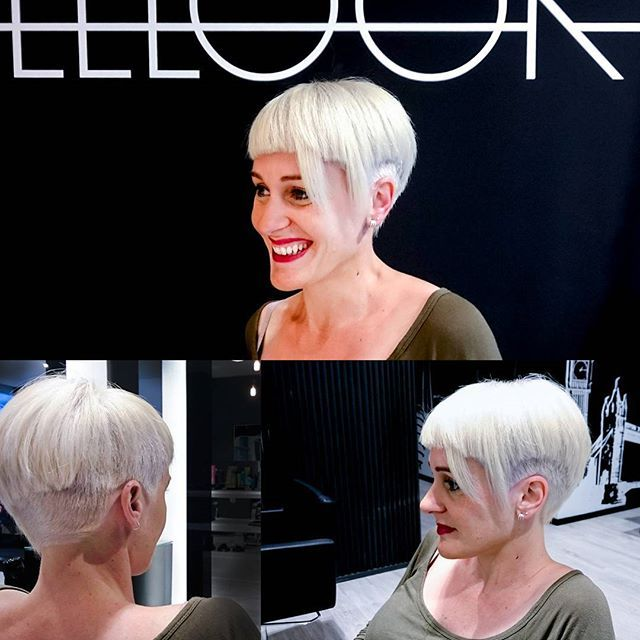 makeover structural haircut with disconnections and platinum blonde color by liriogs coloration - Redken Coloration