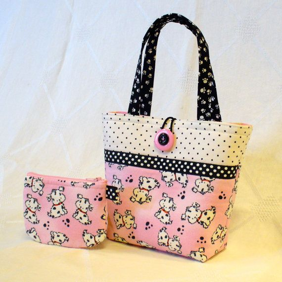 Cute Puppies Little Girls Purse Spotted Puppy Dogs Mini Tote Bag and Coin Purse Set Pink Black White Polka Dot Handmade MTO