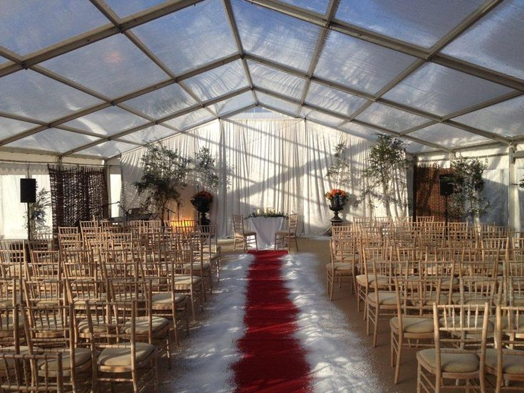 Winter Wedding ceremony in clear marquee