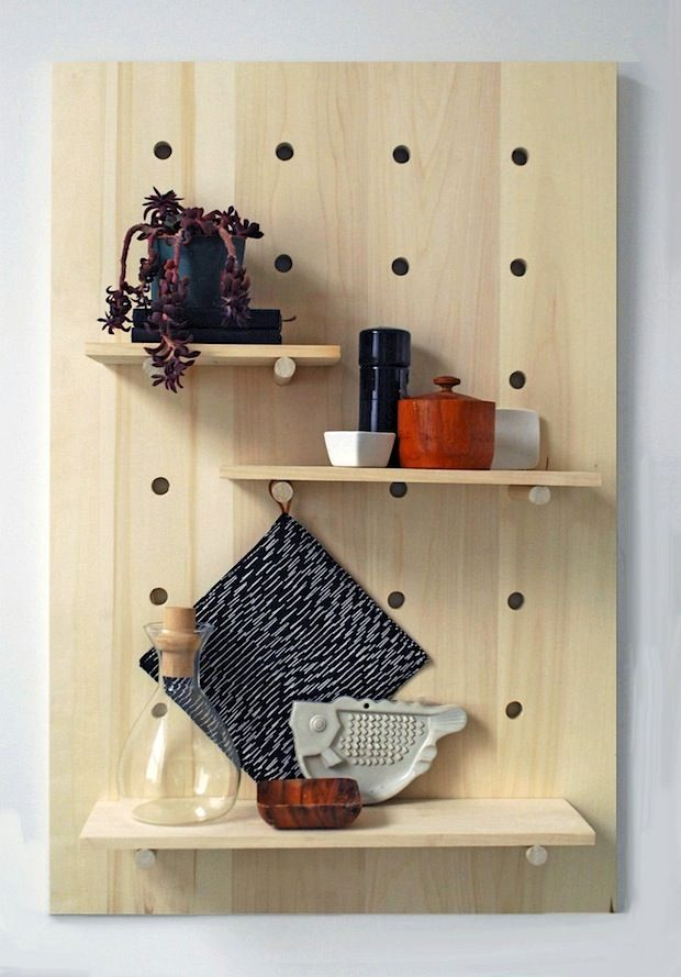 How-To: Modern Pegboard Shelving System from: http://makezine.com/craft/how-to-modern-pegboard-shelving-system/