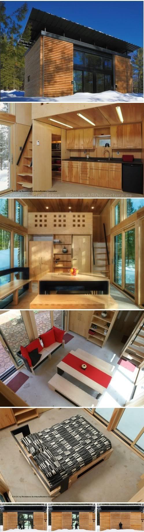 Pequeña casa de madera con triple acristalamiento, celosías deslizantes en fachada, y con numerosas características sostenibles pasivas y activas. 2 altillos.