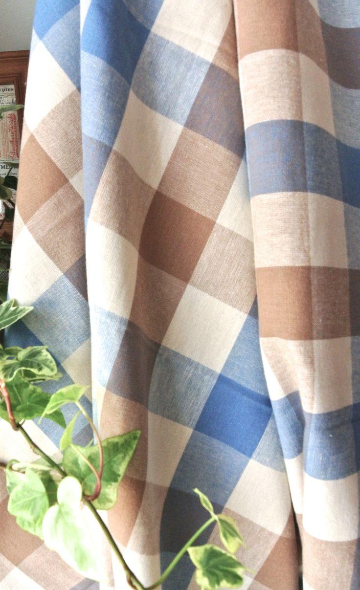 tissu en coton plaids carr vichy carreaux beige cr me bleu retro rideau tissus habillement. Black Bedroom Furniture Sets. Home Design Ideas