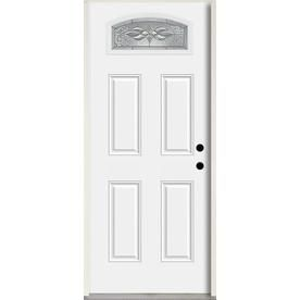 Reliabilt Hampton 1 4 Lite Decorative Glass Left Hand Inswing Fiberglass Prehung Entry Door With Insulating Core Common Reliabilt Entry Doors Glass Decor