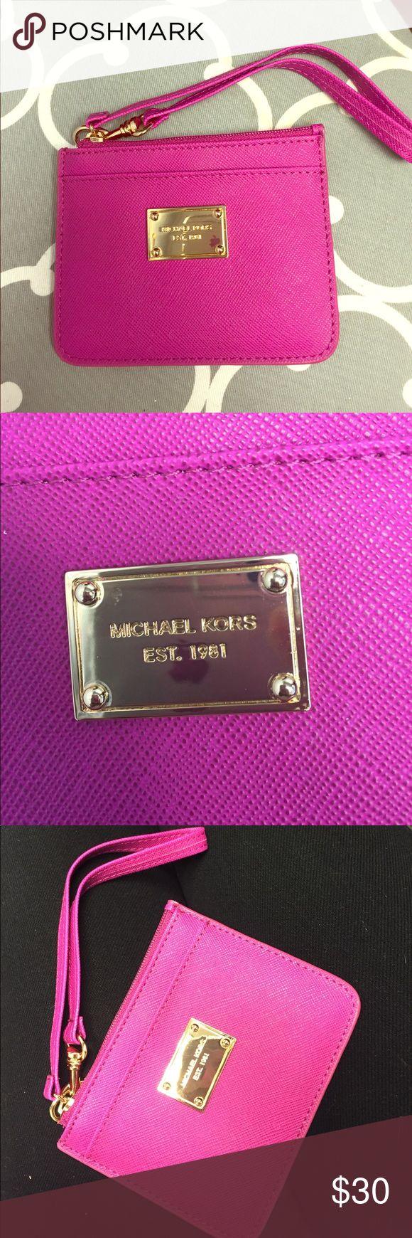 MK Pink Wristlet NEW! Michael Kors pink wristlet! Gold hardware. Michael Kors Bags Clutches & Wristlets