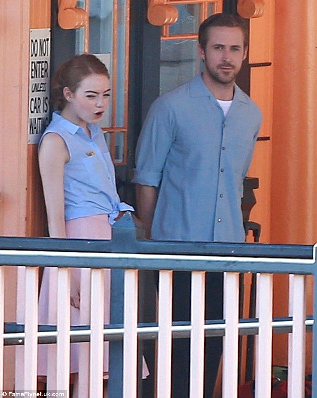 Screen pals: Emma Stone and Ryan Gosling were spotted filming musical comedy La La Land in Los Angeles on Wednesday