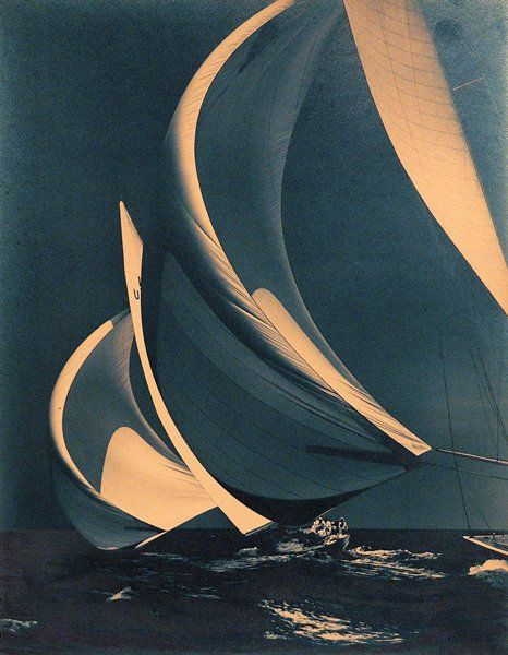 """FLYING SPINNAKERS"""" BY MORRIS ROSENFELD Flying Spinnakers, 1938 »(© Mystic Seaport, Rosenfeld Collection,Mystic, CT, #88393F)"""