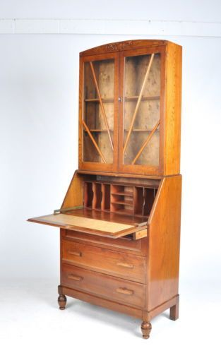 art deco bureau bookcase oak sunburst vintage 1930s 40s. Black Bedroom Furniture Sets. Home Design Ideas