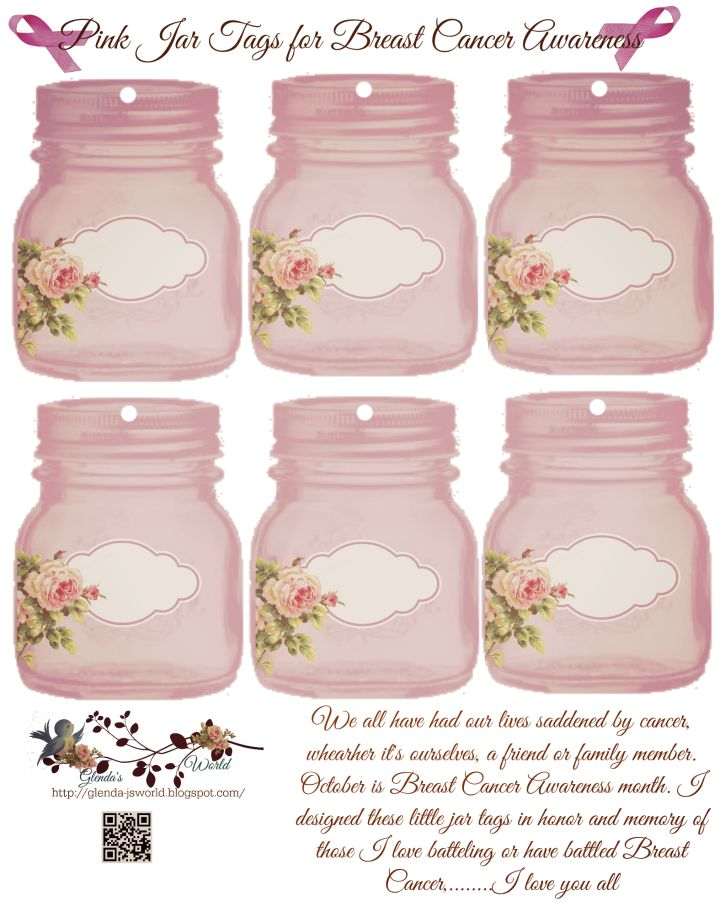 Free pink jar tags Breast Cancer Awareness