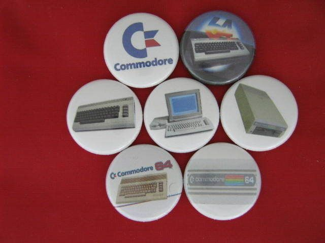 COMMODORE 64 HOME COMPUTER 1982  NEW Set of 7 Select a Size Pinback Buttons  #wtnabrand