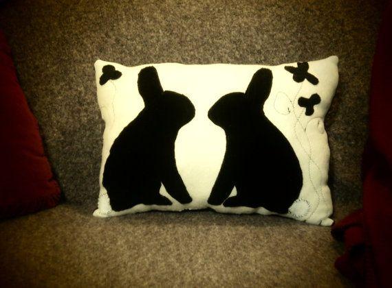Twin Bunnies Silhouette black & white fleece by InkyDreamz, $35.00