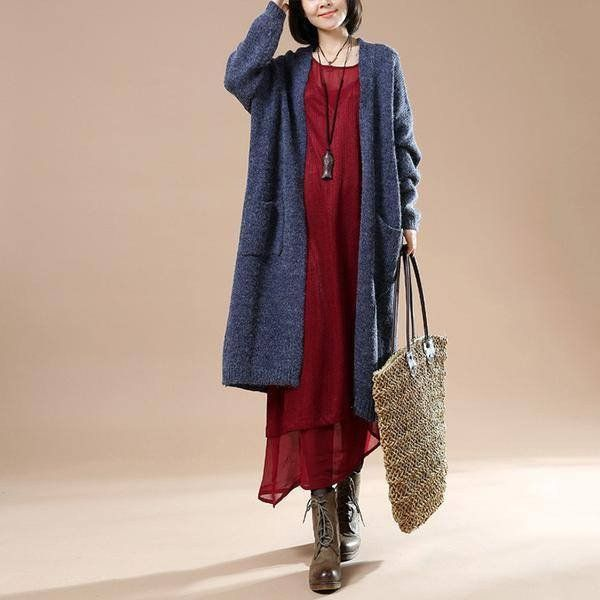 Autumn Blue Women New Long Sleeve Sweater Cardigan Jacket