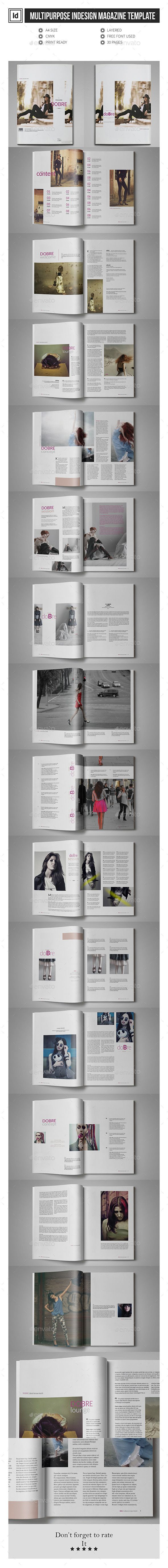 Multipurpose InDesign Magazine Template #design Download: http://graphicriver.net/item/multipurpose-indesign-magazine-template/12684112?ref=ksioks