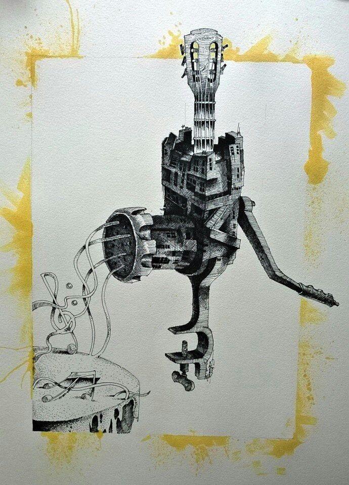 "Musical theory. 16x20"". Ink on cardboard"