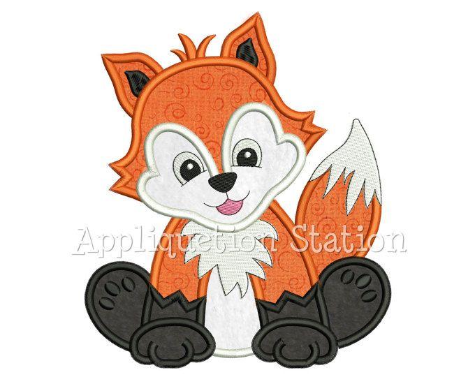Animal bebé FoxApplique máquina bordado diseño bosque chico chica Cute Zoo descarga instantánea