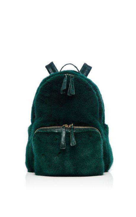Forest Green Mink Backpack by Nancy Gonzalez for Preorder on Moda Operandi