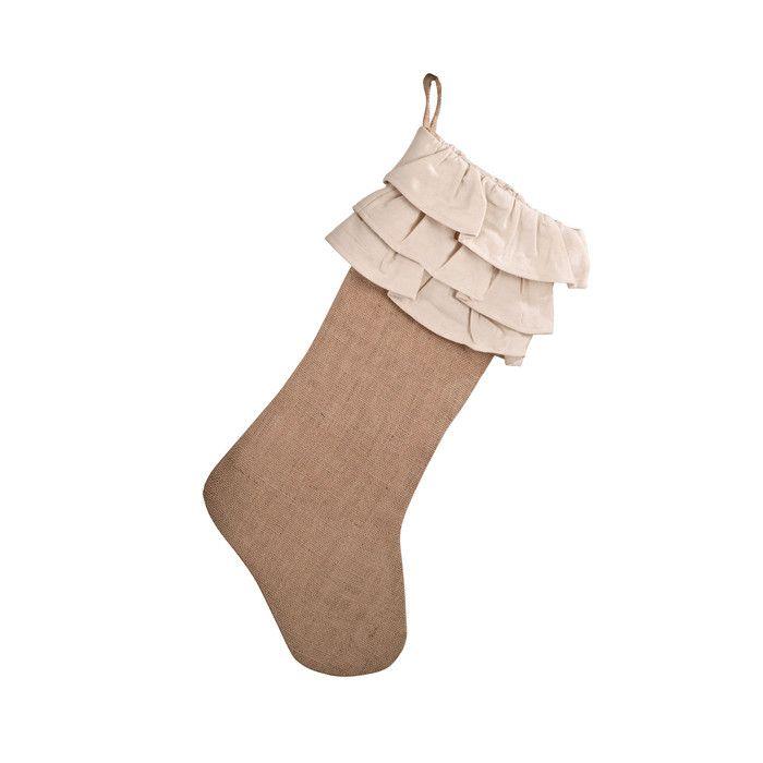 Saro Ruffle Design Jute Stocking