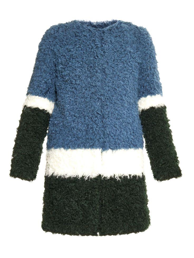 Plum colour-block faux-fur coat | Shrimps | MATCHESFASHION.COM US