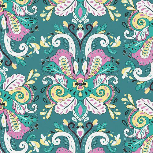 Teal Fabric, Anna Elise, Art Gallery Fabric, Poetic Saddle Iris by MountainFabrics on Etsy https://www.etsy.com/listing/237051177/teal-fabric-anna-elise-art-gallery