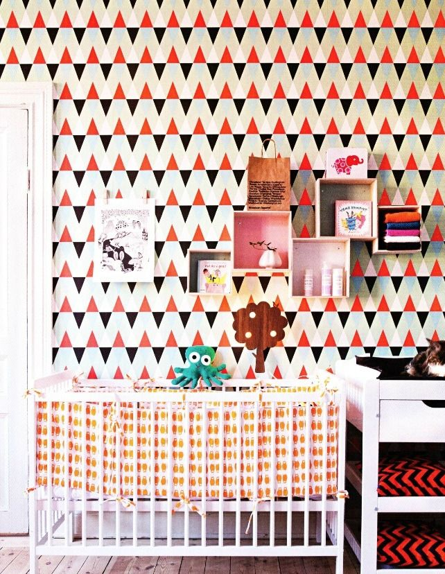 Nursery with Geometric Triangle Wallpaper - amazing!: Ideas, Interior, Pattern, Wallpapers, Baby Nursery, Boy, Happy Things, Kids Rooms