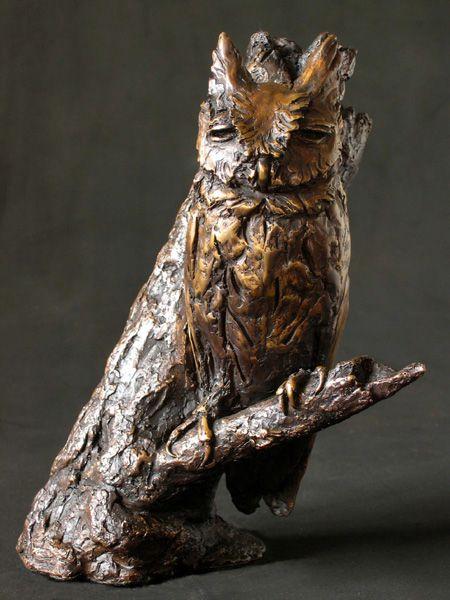 African Scops Owl - Sarah Richards - Sarah Richards. Bronze Edition 30, 20 x18 x 13cm, 3.3 kg, 2005