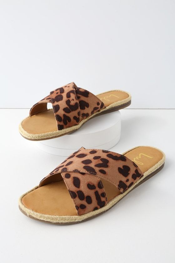162feb66ea95 Take the Koren Leopard Espadrille Slide Sandals from the beach, to  downtown, and back again! Leopard print vegan suede straps cross atop a  peep-toe upper ...