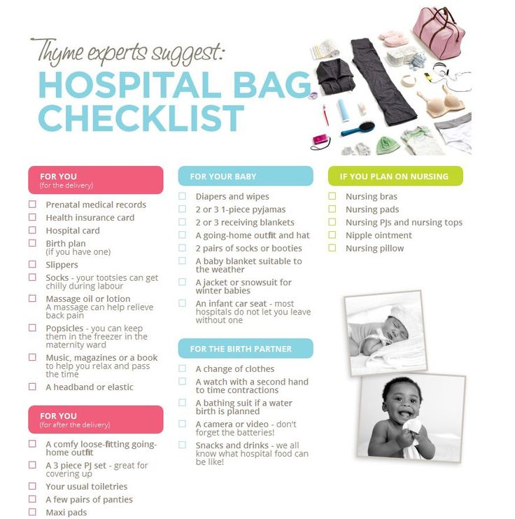 Hospital bag checklist from Thyme Maternity, I like this one because ...