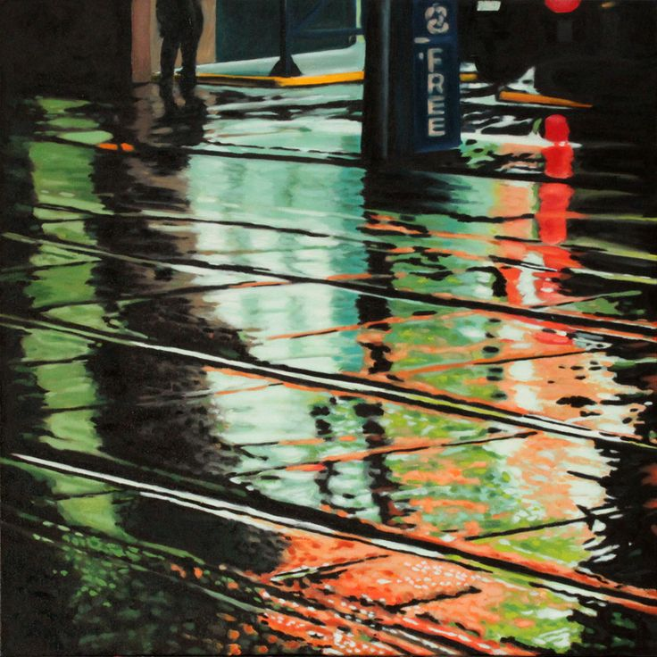 """Parallels III - oil on canvas, 24 x 24"""" (60 x 60 cm) - rainy streets at night with streetcar tracks"""
