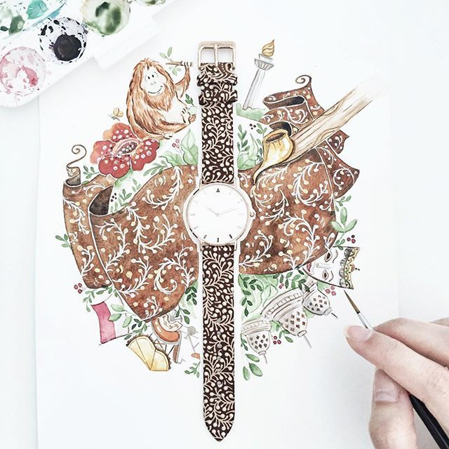 Happy Independence Day, Indonesia ! Let's grow together and support local products. One of our favorite is @wishyourwatch,made with authentic Indonesian batik. #indonesia#batik#wishyourwatch##drawing#draw#art_we_inspire#arts_help#worldofartists#handpainted#watercolor#watercolour#illustration#waterblog#watercolorillustration#illustrationartists#bigbearandbird##art_spotlight#watercolour_gallery