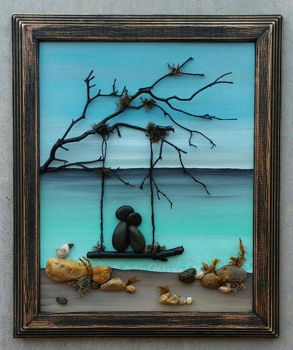 "Pebble Art Couple / Rock Art Couple on a swing by the ocean, anniversary, vacation, honeymoon, in love, ""open"" 8.5x11 frame (FREE SHIPPING)"